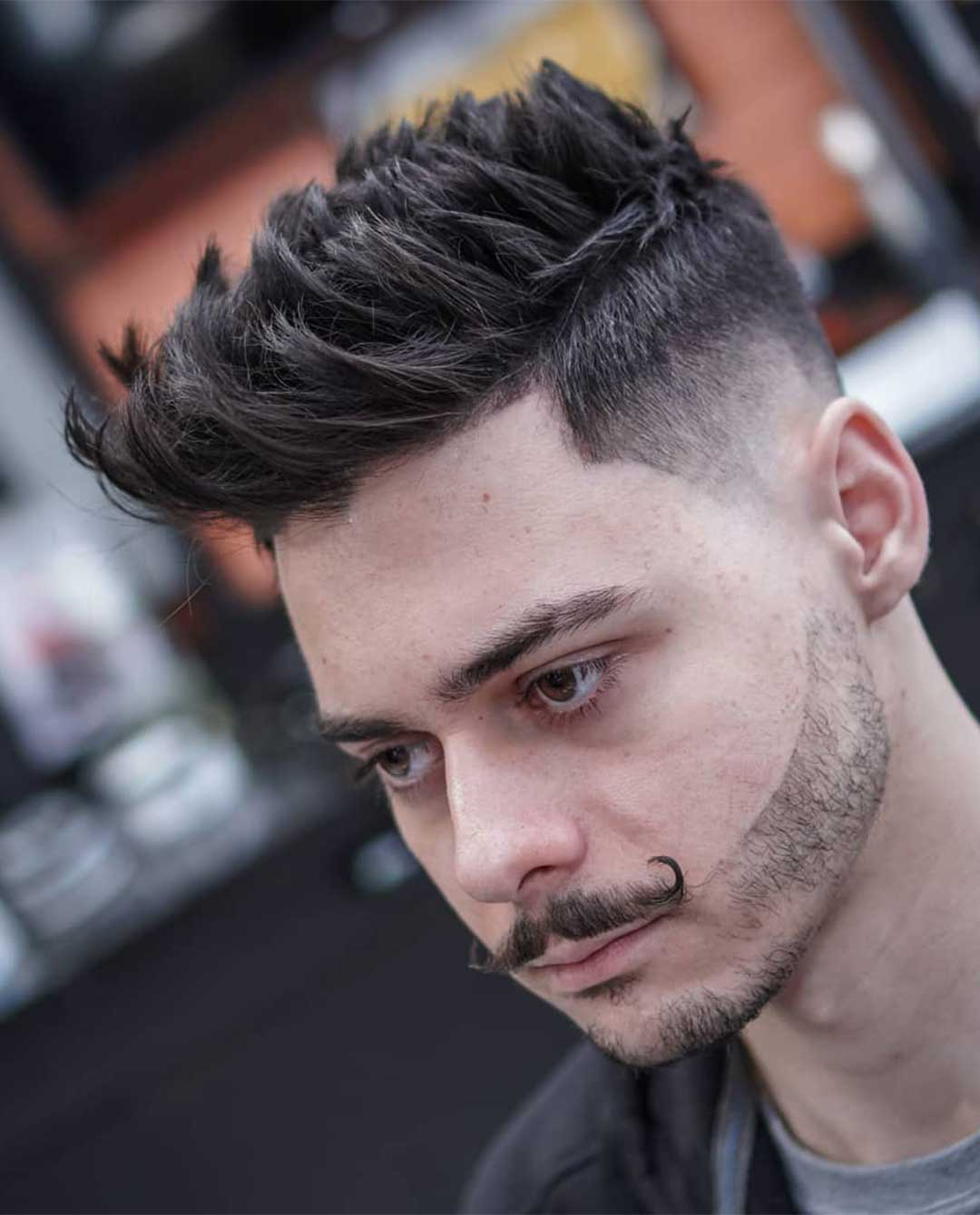 Spiky Quiff with High Fade