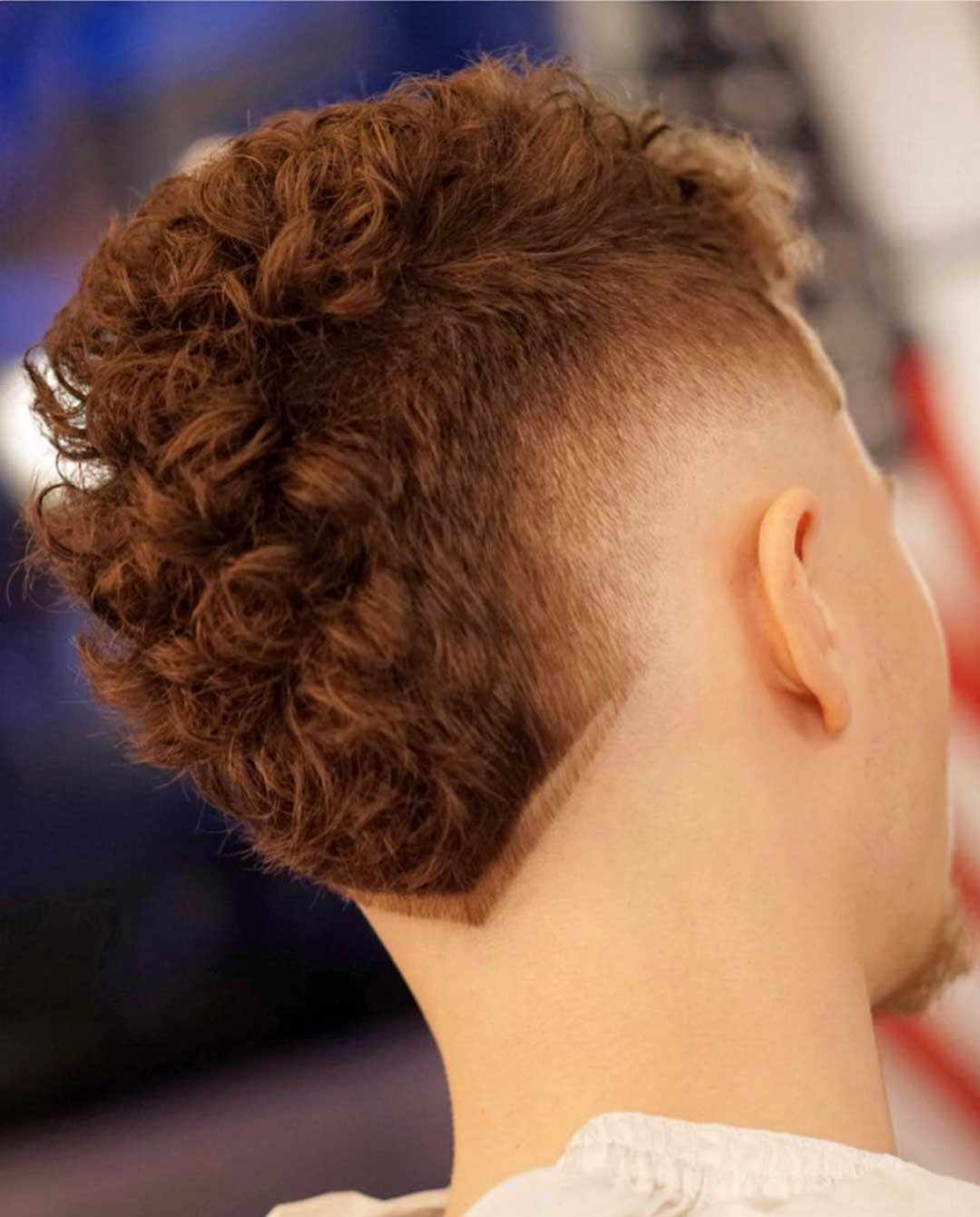 Curly Hair with V Shaped Neckline