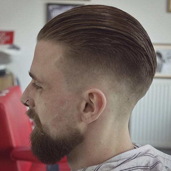 Slick Back with Dipped Low Fade haircut