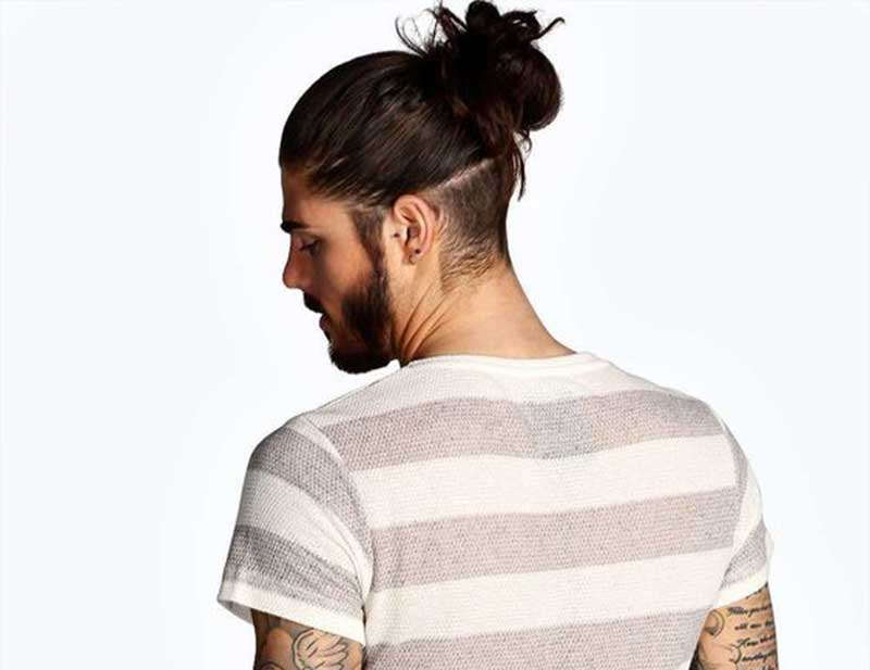 Man Bun with Back Shave hairstyle
