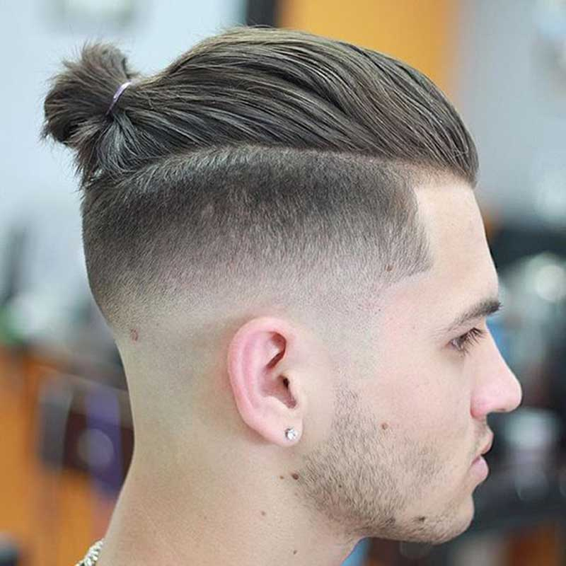 Man Bun with Low Fade hairstyle