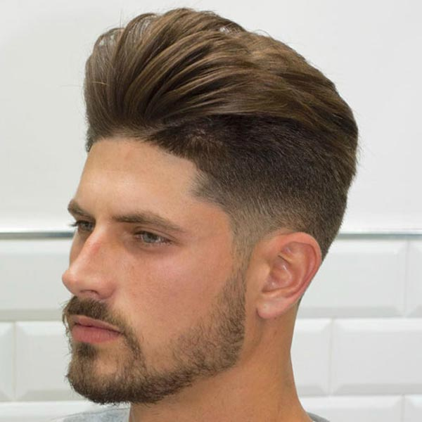 Pompadour with Buzzed Fade haircut