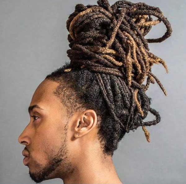 Towering Dreadlocks Man Bun hairstyle