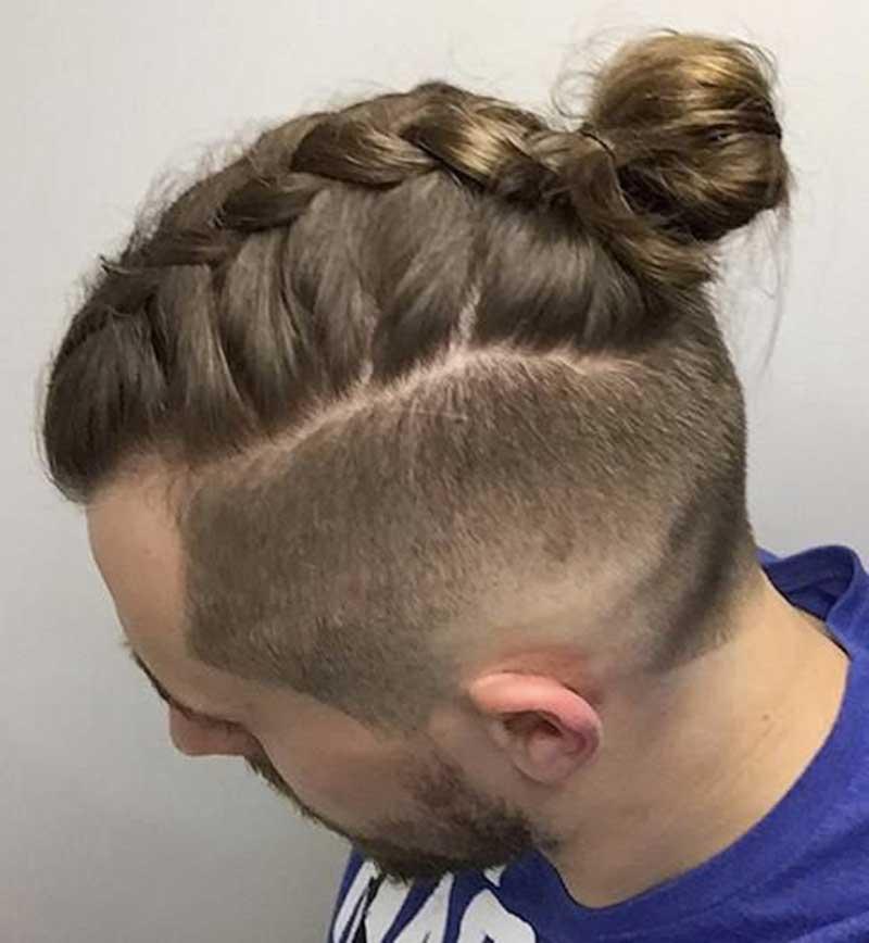 Dutch Braided Man Bun hairstyle