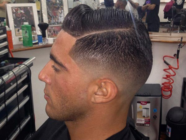 Pompadour with Low Skin Fade haircut