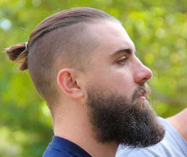 Slicked Back Top Knot haircut