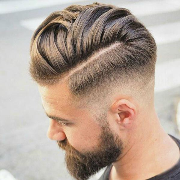 comb over with Low Fade haircut