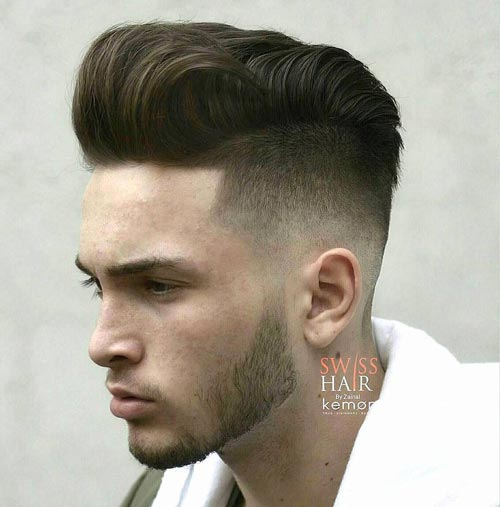 Textured Pompadour with Buzzed Fade Haircut