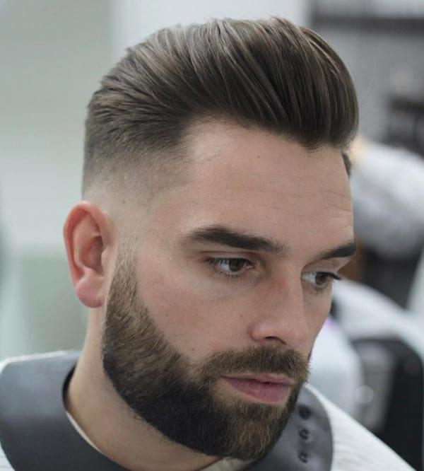 Short Pompadour and Mid Fade haircut