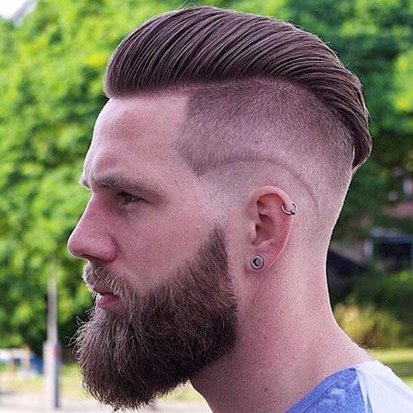 Raked Mohawk Comb Over haircut