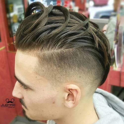 Sectioned Pompadour with High Fade