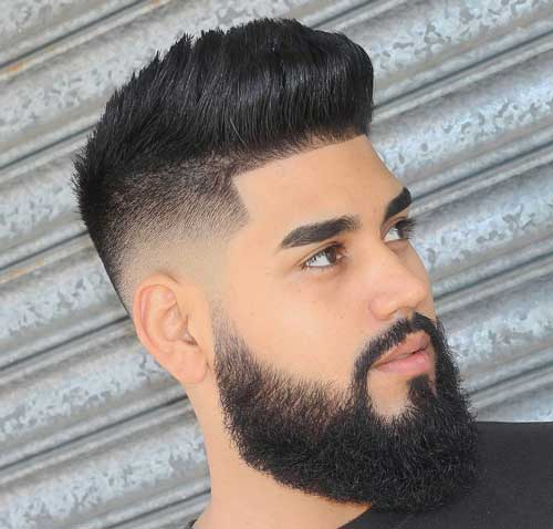 Temple Fade Quiff With Beard