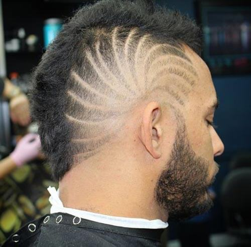 Short Mohawk With Spiral Design