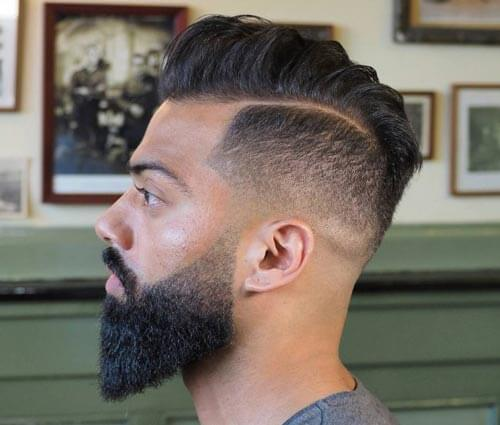 Mid Fade Comb Over with Side Part