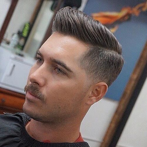 Side Part Pompadour with Low Fade