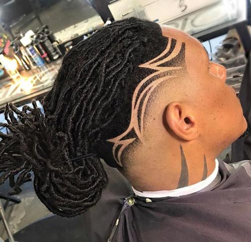 Dread Man Bun with Side Design