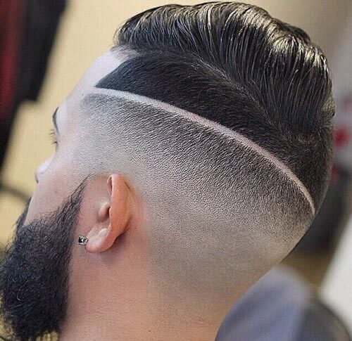 High Fade With Razor Line