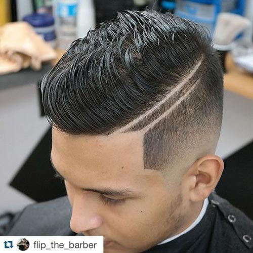 Textured Comb Over with Double Razor Fade