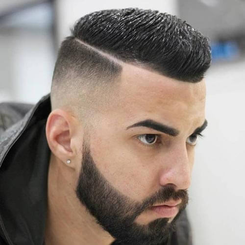 Deep Parted High and Tight Haircut