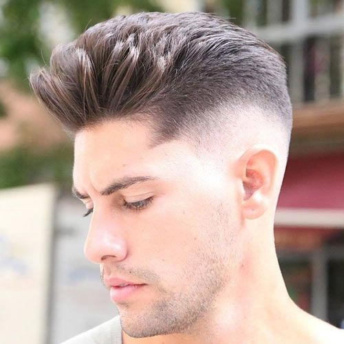 Quiff Haircut with Skin Fade