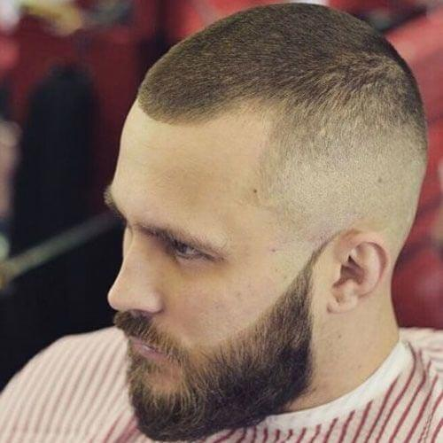 Buzz Cut with Faded Sides and Beard