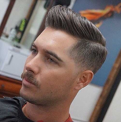 Low Fade Comb Over with mustache