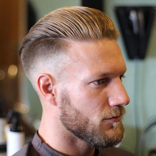 Slick Back Hair with Low Fade and Beard
