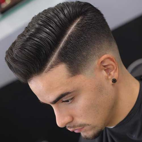 Deep Parted Quiff with Skin Fade