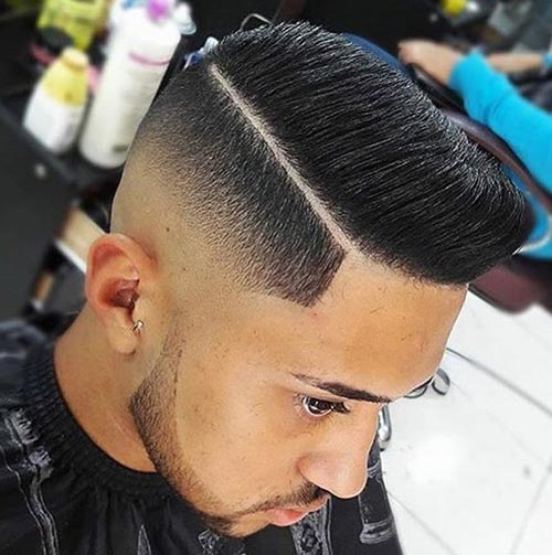 Modern Pompadour with Deep Part and Skin Fade