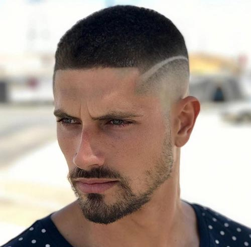 Crew Cut with Deep Part and Fade
