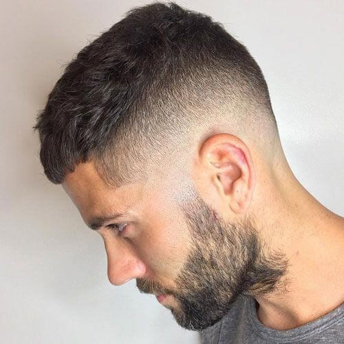 Textured Caesar Haircut with Skin Fade