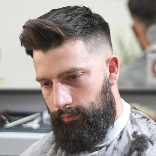 Brush Up Hair with Beard and Low Skin Fade