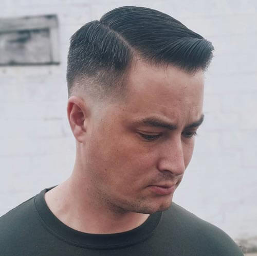 Side Part Haircut with Low Drop Fade