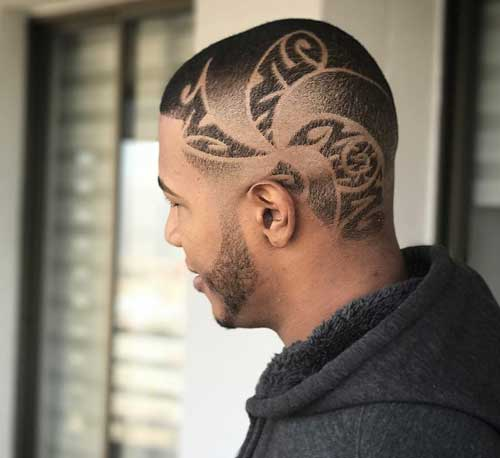 High And Tight Crew Cut with Pinwheel Design