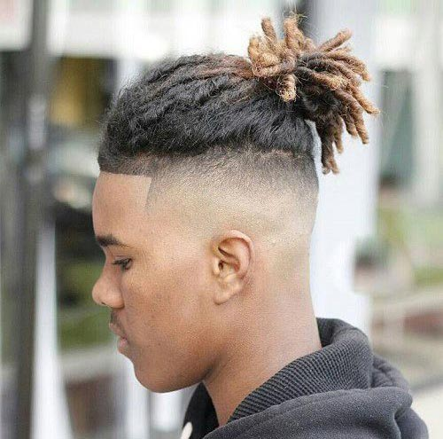 Top Knot with Temple Fade