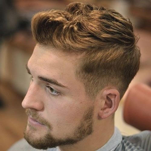 Wavy Brushed Up Haircut with Drop Fade