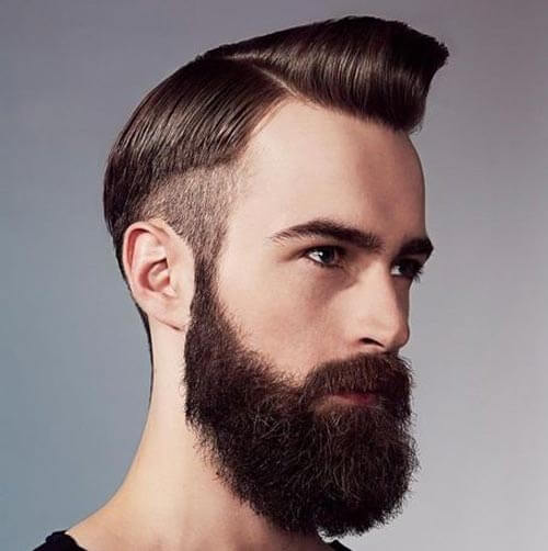 Pompadour with disconnected Undercut and Beard