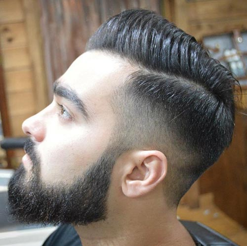 Comb Over Haircut with High Fade