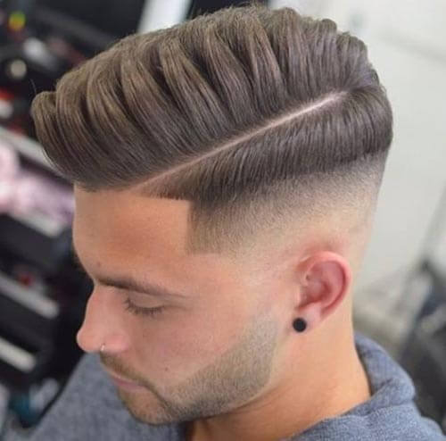 Drop Fade Pompadour with Deep Part and Quiff
