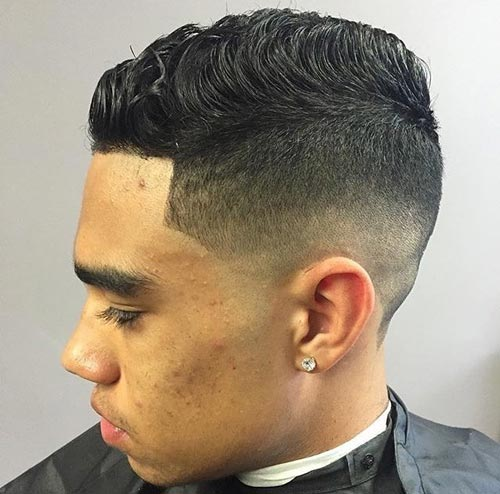Comb Over Fade with Curly Top