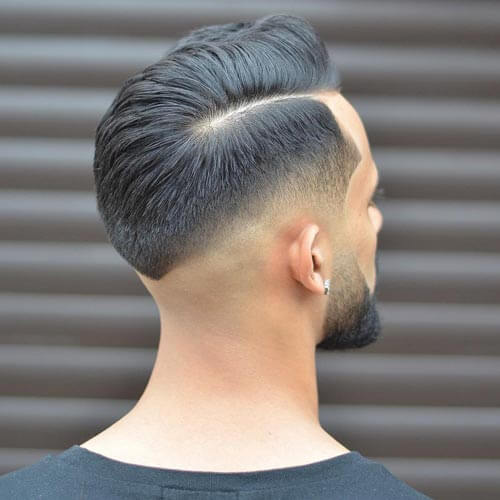 Comb Over with Deep Part and Skin Fade