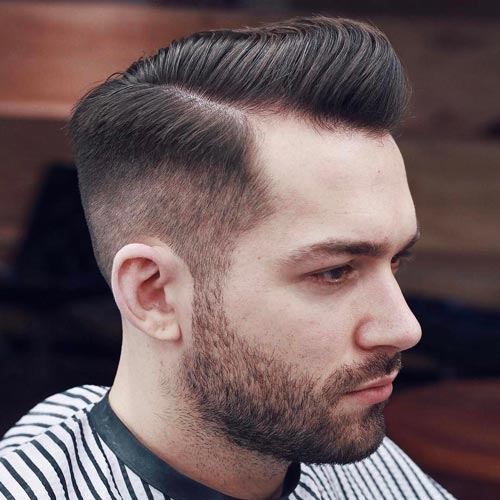 Deep Parted Pompadour with High Fade