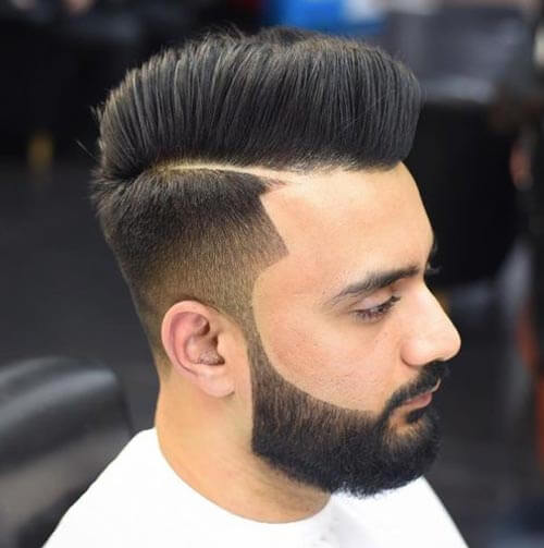Deep Parted Pompadour with Fade and Beard