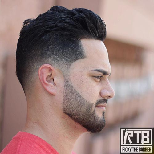 Temple Fade with Long Wavy Top