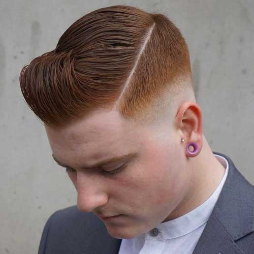 Slicked Over Side Part with Drop Fade