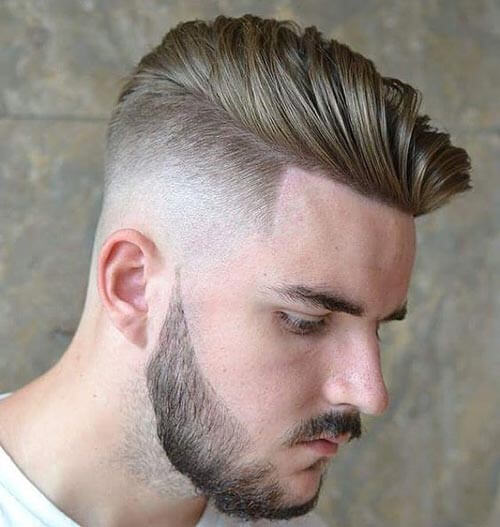 Textured Comb Over with Temple Fade