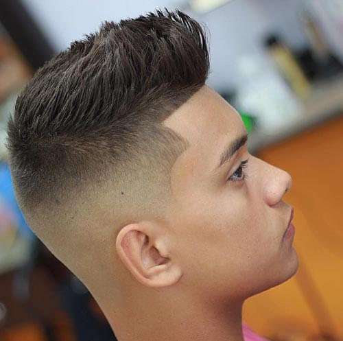 Spiky Pompadour with Temple Fade
