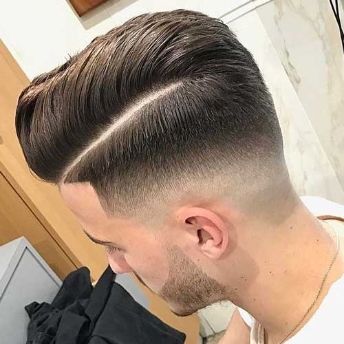 Comb Over with Low Fade and Hard Part