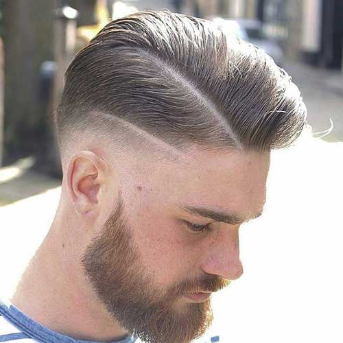 Comb Over Fade with Double Line
