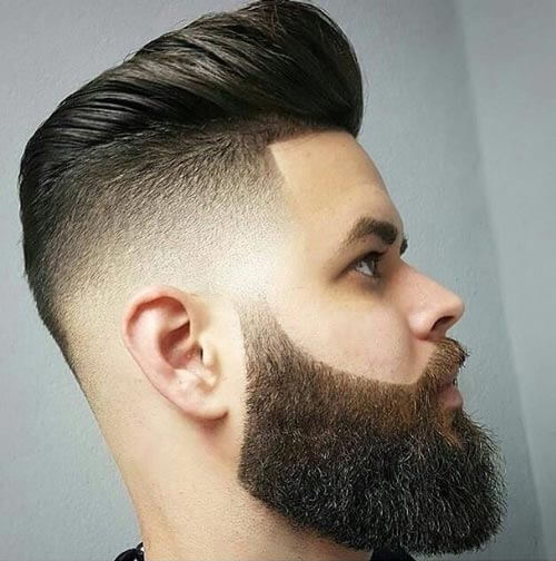 Modern Pompadour Fade with Bald Sides
